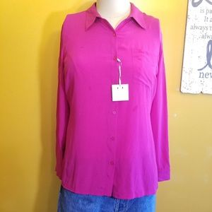 Worthington 100% Silk pink button up blouse